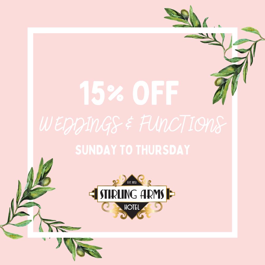15% OFF Weddings & Functions in Guildford